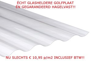 GOLFPLAATJE POLYCARBONAAT NOVOCLEAR GLASHELDER TYPE 76/18 1mm dik Lengte 214cm