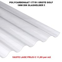 Goedkope golfplaat POLYCARBONAAT 1mm 177/51 grote golf van €16,04 tot €40,09 per plaat