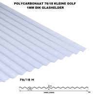 GOLFPLAAT POLYCARBONAAT NOVOCLEAR GLASHELDER TYPE 76/18 1mm dik Lengte 275cm