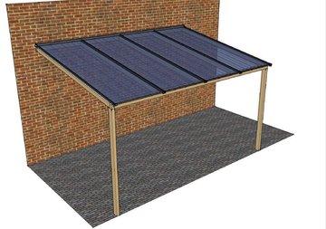 Polycarbonaatdak breed 700 x diep 250cm compleet DHZ-pakket
