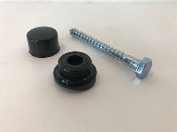 Golfplaatschroef 6x60mm + dop/ring zwart 25st.