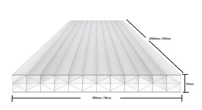 X WALL Polycarbonaat kanaalplaat 16mm  breed 98cm lengte 250cm