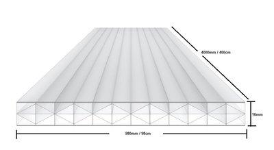 X WALL Polycarbonaat kanaalplaat 16mm  breed 98cm lengte 400cm
