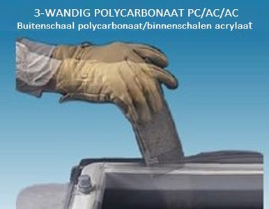 LICHTKOEPEL 3-W POLYCARBONAAT PC/AC/AC DAGMAAT 80X80 CM bolvormig
